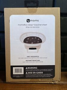4moms MamaRoo Sleep Bassinet Sheet Grey Crosshatch NEW