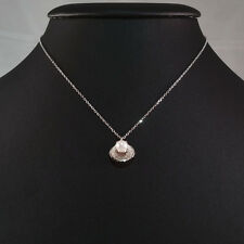 STERLING SILVER PEARL NECKLACE WITH GENUINE NATURAL PEARL SHELL PENDANT. STAMPED