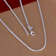 New 925Sterling Solid Silver Men Jewelry 3MM Snake Chain 24inch Necklace N192