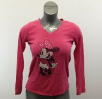 Disney Love Top Women's Small Pink Long Sleeve V Neck Graphic T Shirt