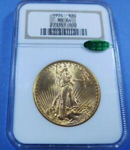 1924P $20 Saint-Gaudens Double Eagle NGC MS64 CAC 21078
