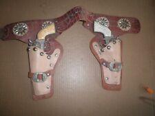 "Neat old original ""Rodeo"" Toy Cap Gun Six Shooter Holster Set Hubley 1950's"