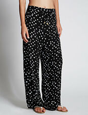 Ex M&S Womens Ladies Wide Leg Trousers Crepe Palazzo Loose Pants RRp £29.50