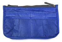 Blue Multi Pocket Purse Handbag Organizer Insert Womens Ladies Zippered