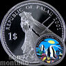 2001 Palau $1 ANGELFISH MERMAID Marine Life Protection Silver Plated Copper Coin