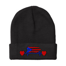 Beanies for Men Puerto Rico Flag Lifeline Embroidery Winter Hats Women Skull Cap