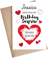 Personalised Scratch Card Gift Reveal Your Surprise Birthday Present Love