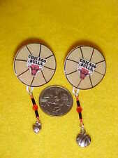 Chicago Bulls Pierced Earrings - Unique - Handmade - Basketball - NBA - New -