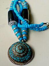 Superbe Indien Collier avec turquoise et perles noires & GRAND PENDENTIF £ 9.99 Neuf avec étiquettes