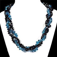 Océano Azul & Fuego Negro Collar Con Cristal Handcrafted Bisutería Cuentas GB