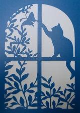 Scrapbooking - STENCILS TEMPLATES MASKS SHEET - Cat/Window Stencil
