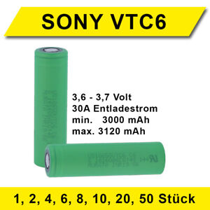 Akku VTC6 SONY Murata Konion 3000-3120 mAh 30A E-Zigaretten Sparangebot Akkubox