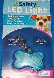 NEW Blue LED Safety Light Collar Clip On Dog Pet Water Resistant