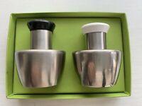 Vintage Mid Century Modern Stainless Steel Salt and Pepper Shakers Japan