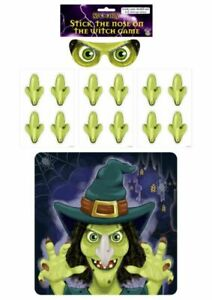 STICK THE NOSE ON THE WITCH HALLOWEEN PARTY GAME KIDS FUN NEW