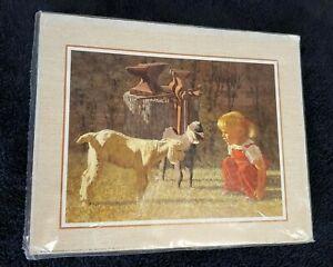 1988 Litho Print Country Scene Little Girl Red Dress Goats SCAFA Tornabene Print