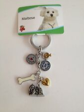 Maltese Key Chain With Charms From Little Gifts ~New~