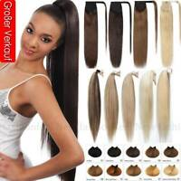 100% Real Remy Human Hair Clip in Ponytail Extensions Wrap Around Straight Thick