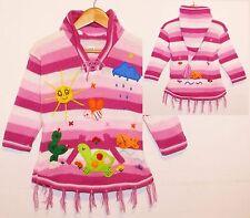 Kinder Pullover-Kleid rosa pink weiß, Gr. 98/104, XXL-Zipfelkapuze Fransen Tiere