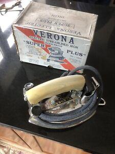 vintage Verona Super Plus Electric Iron electric super perfect with box Chrome