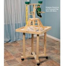Parrot Perch Pet Bird Perch Gym Pyramid Floor Play Stand Wood