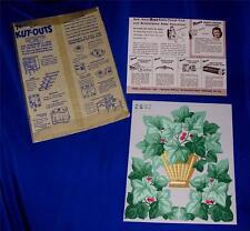 VTG  PKG 1940S TRIMZ Ivy DIE CUT PUNCH OUT LITHOS - CRAFTS CARDS SCRAP BOOK