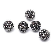 Polymer Clay Disco Ball Beads 10mm Dark Grey 10 Pcs Rhinestone Art Hobby Crafts