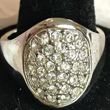 Vtg Austrian Crystal Oval Ring Pave Style Silver Tone Size 10 NWT