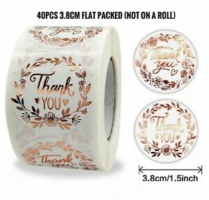 40pcs 38mm Thank You Sticker Thank you Floral Rose Gold Thank You Business LARGE