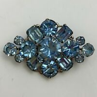 Vintage Light Blue Rhinestone Brooch Pin Periwinkle Glass Silver Tone Riveted