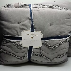 pottery barn teen Scallop Ruffle Emily & Meritt twin & XL quilt charcoal gray