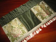 J.C. PENNEY SHABBY VELVET FLORAL JACQUARD GREEN PINK GOLD VALANCE 16X47 COUNTRY