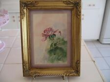 Beautiful Ornate Gold Framed With Glass Watercolor Painting Of Pink Rose