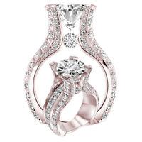 Noble Fashion Women 18K Rose Gold White Sapphire Wedding Proposal Jewelry Ring