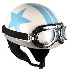 [ Blue Star ] Goggle Helmets Vintage Half Face Scooter Motorcycle Motorbike