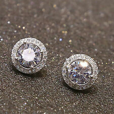 Hi Women's Crystal Zircon Inlaid Ear Stud Earrings 18K White Gold Plated Jewelry