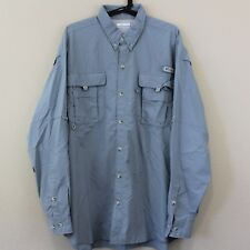 COLUMBIA PFG Fishing Gear Vented Nylon Camp Collared Button Up Shirt Men XL H130