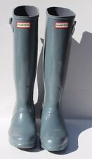 Women's Hunter Original Tall Gloss Rubber Rainboots Grey Size 8 US 39 EU