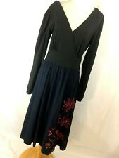 eShakti M Medium 10 Maxi Dress Black Blue Boho Red Floral V Neck Women R8