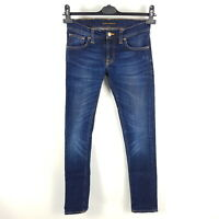 Nudie Jeans Long John Damen W26 L32 Blau Skinny Fit Slim Dark Sparkles