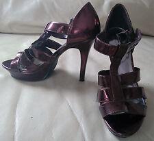 Ladies burgundy red metallic patent, platform strap stilettos by Spot on, size 6