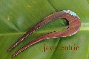 Handmade wooden HAIR JEWELRY PIN FORK PICK Sono wood PAUA SHELL inlay ELEGANT