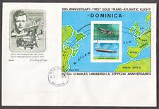 ARTMASTER LINDBERGH/AVIATION DOMINICA #569 SOUVENIR SHEET 1ST DAY CVR 13 MAR 78