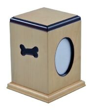 Dog Bone Small Brown Wood 50 Cubic Inches Cremation Urn with Photo Frame