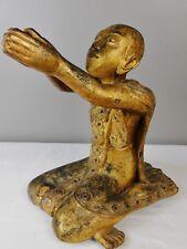 "Fine Antique Gilt Wood Monk Figure w/Inlay Chinese Burmese Buddhist Daoist 14"""