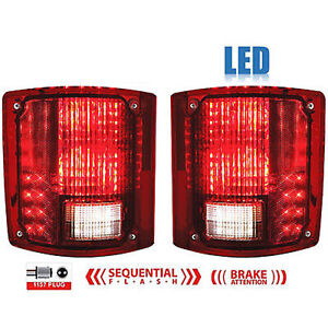 73-91 Chevy GMC Truck Rear LED Sequential Tail Turn Signal Brake Light Lens Pair