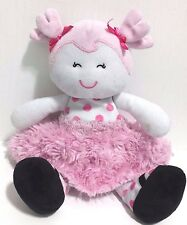 """Baby Starters Pink White Polka Dot Doll Pigtails Plush Toy 10.5"""" Lovey"""