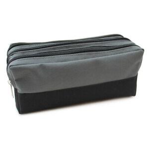 Large Black Grey Split Panel Pencil Case Pouch 3 Zip Compartments Boys Teenagers