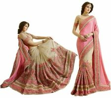 Latest Satin Net Embroidery Sari for Indian Ethnic Wedding Party wear Sari K663
