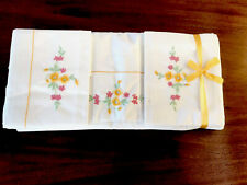 """More details for vintage unused pair embroidered off white cotton sheets 80x100"""" 2xpillow cases"""